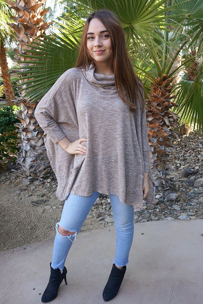 All Eyes On Me Mocha Brown Cowl Neck Pullover Poncho 3