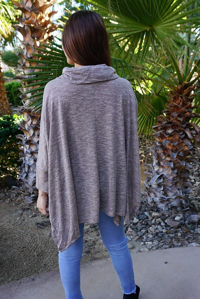 All Eyes On Me Mocha Brown Cowl Neck Pullover Poncho 4