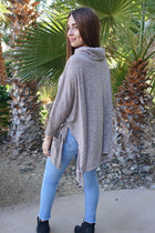 All Eyes On Me Mocha Brown Cowl Neck Pullover Poncho 2
