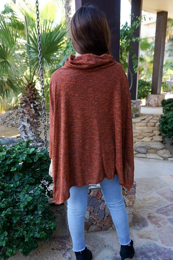 All Eyes On Me Red Cowl Neck Pullover Poncho 4