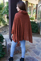 All Eyes On Me Red Cowl Neck Pullover Poncho 3