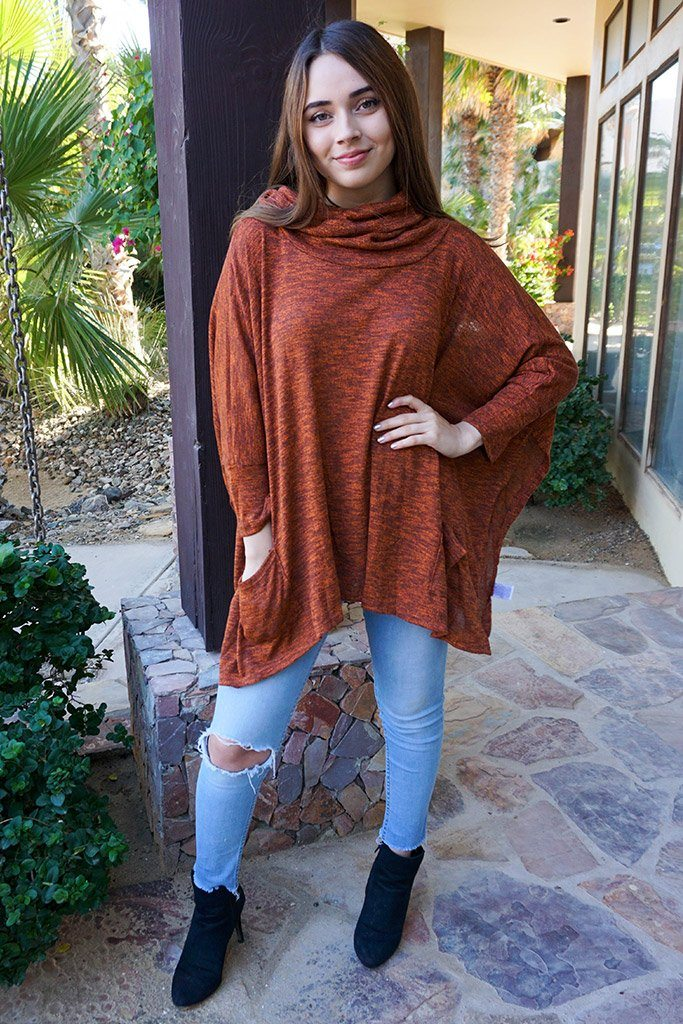 All Eyes On Me Red Cowl Neck Pullover Poncho 2