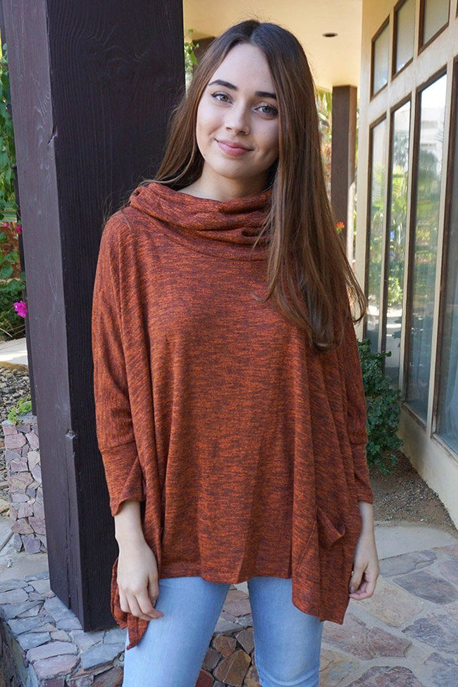 All Eyes On Me Red Cowl Neck Pullover Poncho 1
