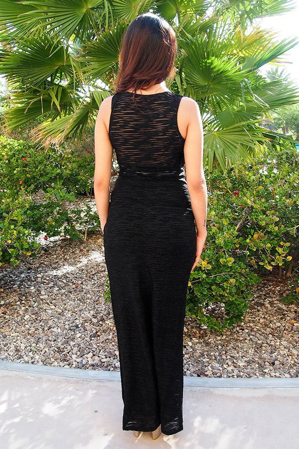 All Eyes On You Onyx Black Sleeveless Maxi Dress, womens long dress, back, Ledyz Fashions Boutique