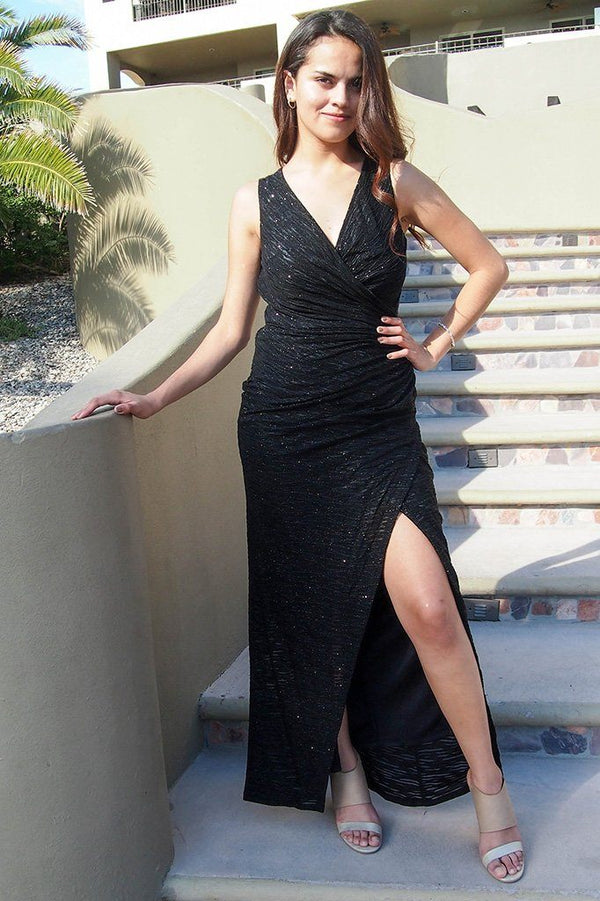 All Eyes On You Onyx Black Sleeveless Maxi Dress, womens long dress, front, Ledyz Fashions Boutique