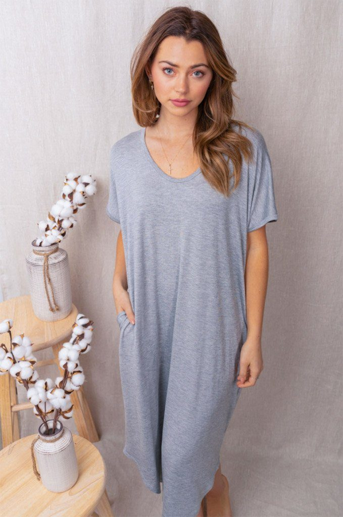 All Good Days Heather Grey Maxi Dress 1