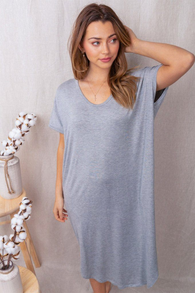All Good Days Heather Grey Maxi Dress 3