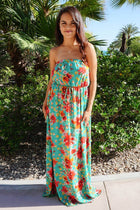 All Mine Green Floral Print Strapless Maxi Dress 1