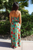 All Mine Green Floral Print Strapless Maxi Dress 3
