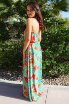 All Mine Green Floral Print Strapless Maxi Dress 2