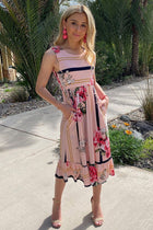 All Mine Pink Floral Print Stripe Sleeveless Midi Dress 4