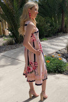 All Mine Pink Floral Print Stripe Sleeveless Midi Dress 2