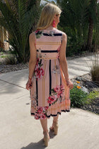 All Mine Pink Floral Print Stripe Sleeveless Midi Dress 3