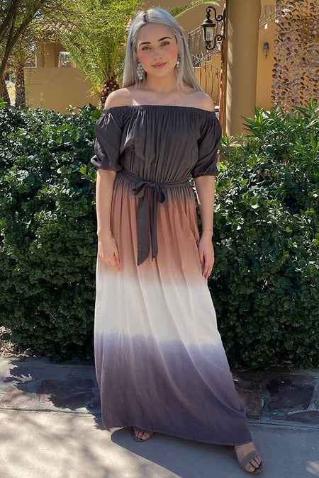 All She Wants Olive Ombre Off The Shoulder Maxi Dress 1