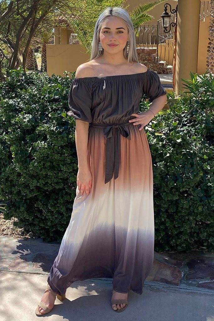 All She Wants Olive Ombre Off The Shoulder Maxi Dress 4