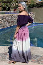 All She Wants Purple Ombre Off The Shoulder Maxi Dress 2