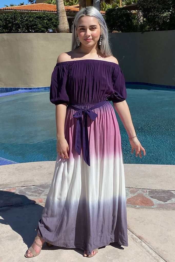 All She Wants Purple Ombre Off The Shoulder Maxi Dress 3