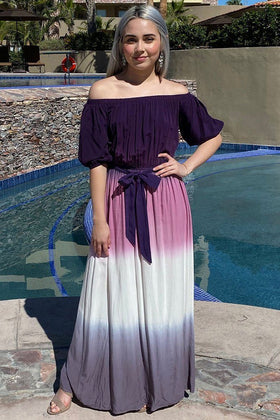 All She Wants Purple Ombre Off The Shoulder Maxi Dress 1
