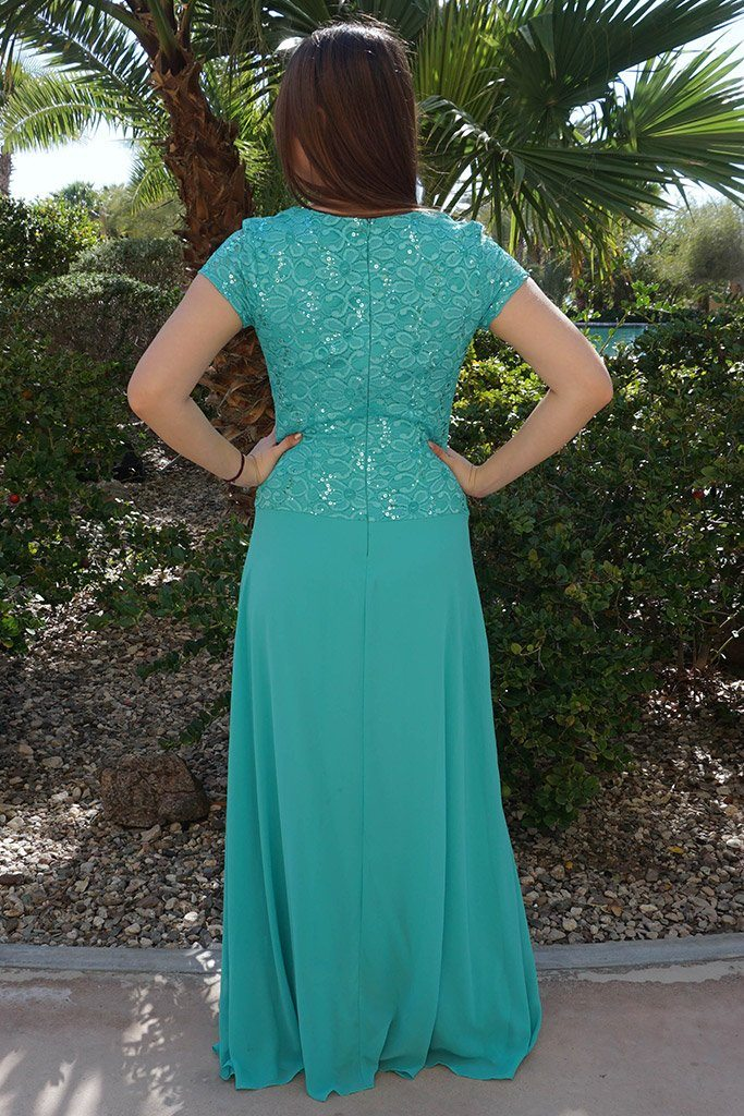 Always And Forever Mint Sequin Lace Maxi Dress 3