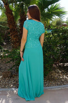 Always And Forever Mint Sequin Lace Maxi Dress 2