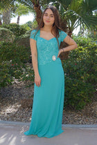 Always And Forever Mint Sequin Lace Maxi Dress 4