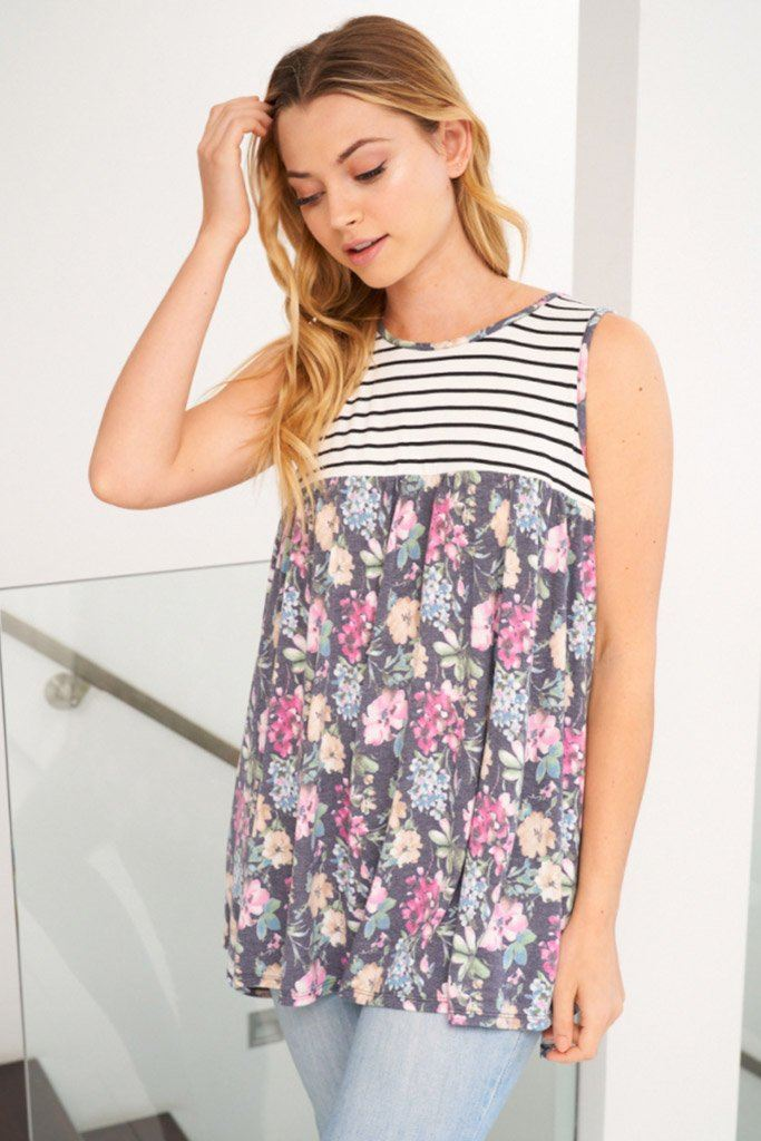 Always Ready Navy Blue Floral Stripe Tank Top 1