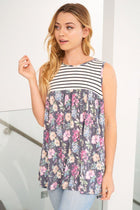 Always Ready Navy Blue Floral Stripe Tank Top 4