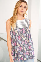Always Ready Navy Blue Floral Stripe Tank Top 3