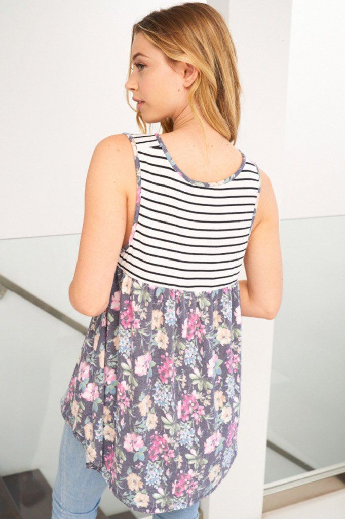 Always Ready Navy Blue Floral Stripe Tank Top 2