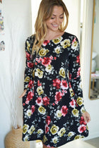 Always You Black And Red Floral Print Dress 3