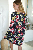 Always You Black And Red Floral Print Dress 2
