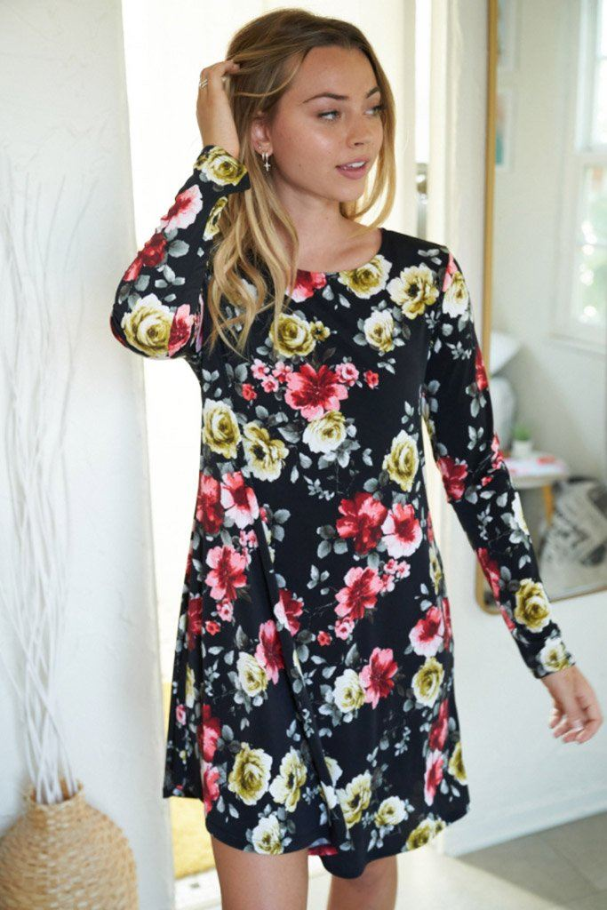 Always You Black And Red Floral Print Dress 4