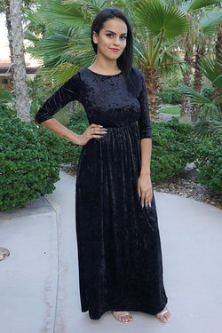 Anything For You Black Velvet Long Sleeve Maxi Dress 1