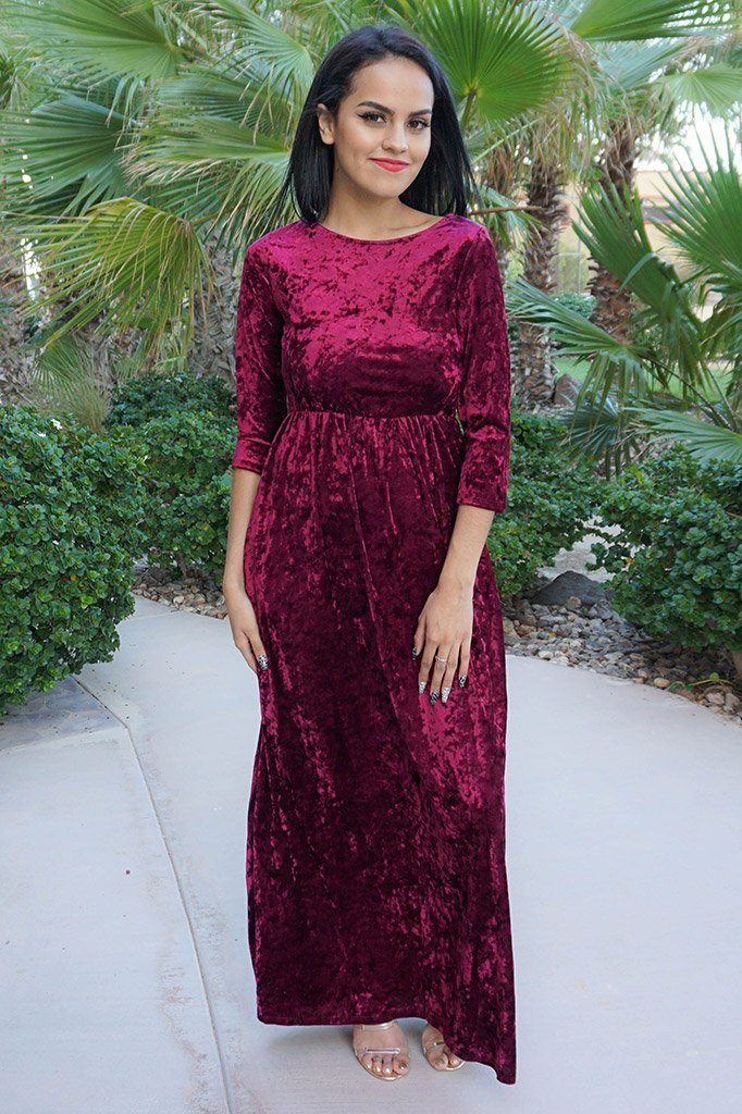 Anything For You Burgundy Velvet Long Sleeve Maxi Dress 2