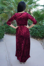 Anything For You Burgundy Velvet Long Sleeve Maxi Dress 3