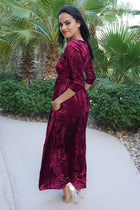 Anything For You Burgundy Velvet Long Sleeve Maxi Dress 4