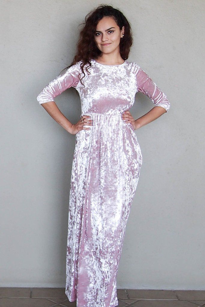 Anything For You Pink Velvet Long Sleeve Maxi Dress 1