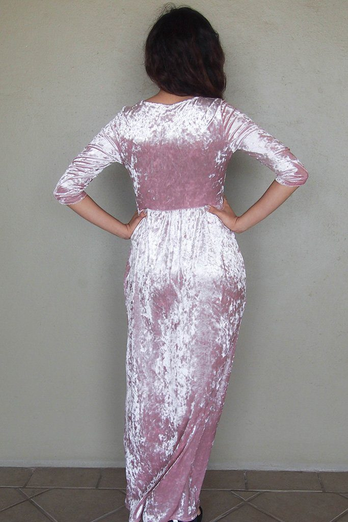 Anything For You Pink Velvet Long Sleeve Maxi Dress 3