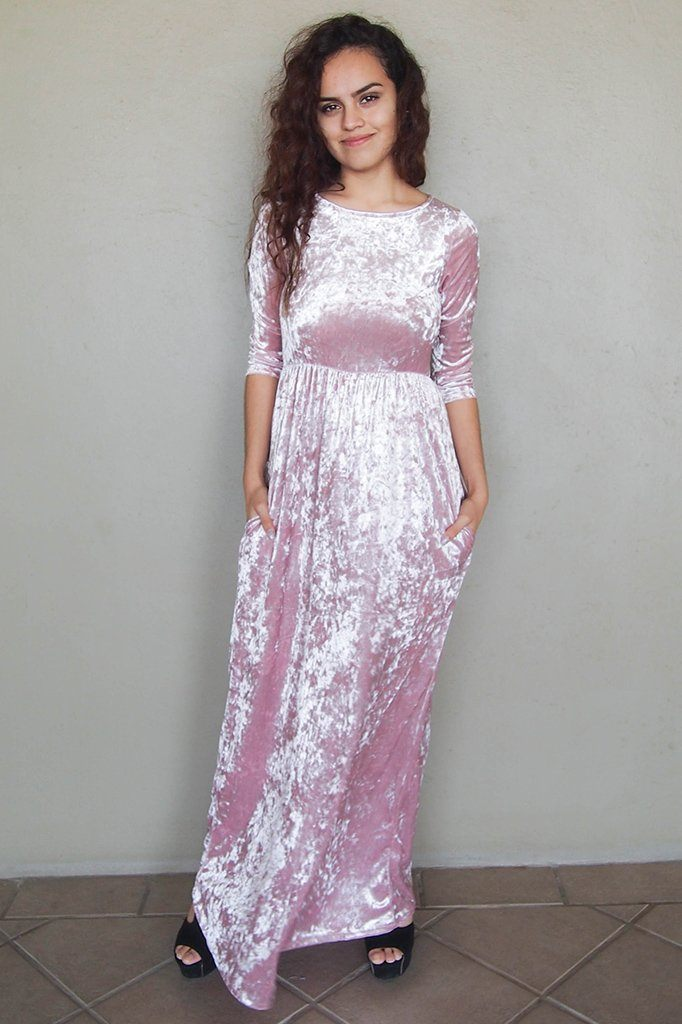 Anything For You Pink Velvet Long Sleeve Maxi Dress 4