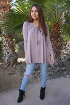 Anything Is Possible Brown Lace Long Sleeve Tunic Top 4