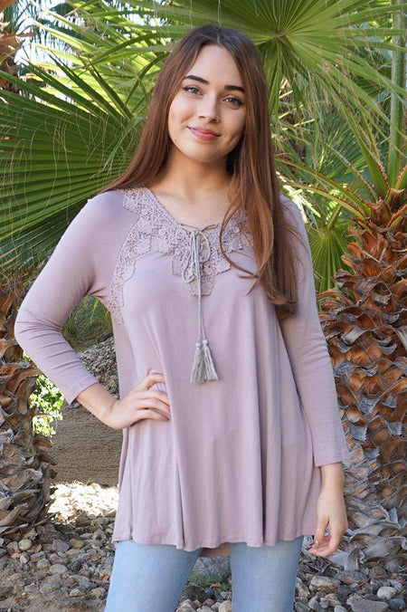 Anything Is Possible Brown Lace Long Sleeve Tunic Top 1