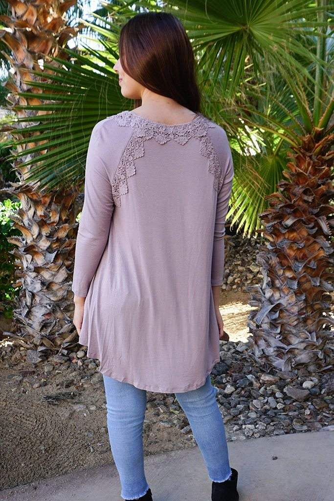 Anything Is Possible Brown Lace Long Sleeve Tunic Top 3