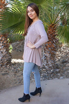 Anything Is Possible Brown Lace Long Sleeve Tunic Top 2
