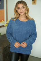 As You Please Blue Chenille Sweater 1