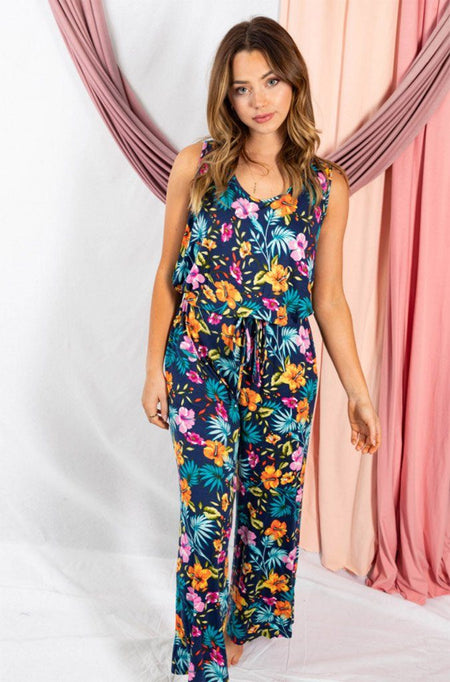 Babe Squad Navy Tropical Floral Sleeveless Jumpsuit 1