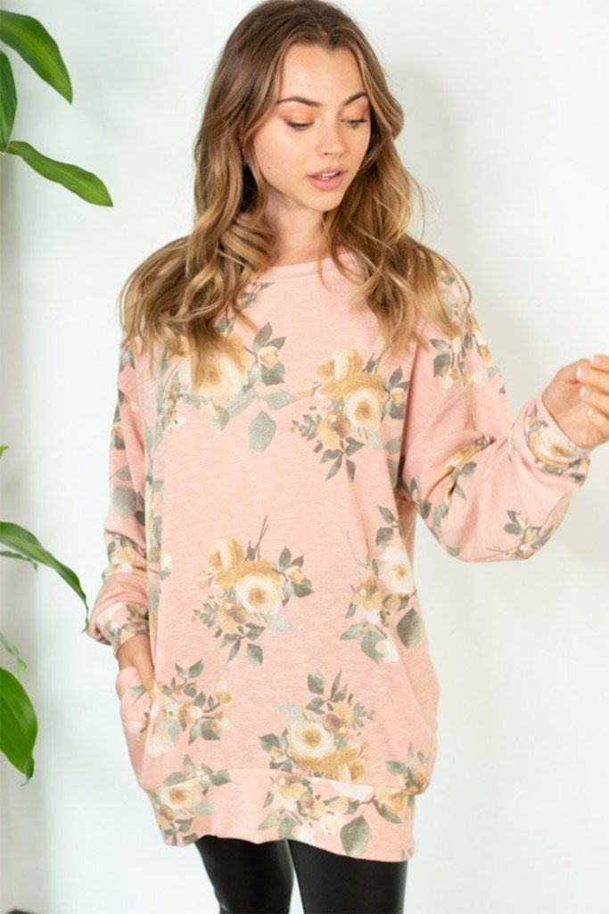 Be My Darling Pink Floral Print Tunic Top 3