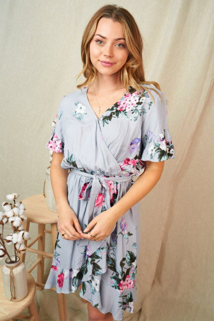 Be My Someone Grey Floral Ruffled Tie Waist Dress 1