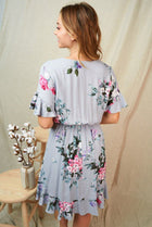 Be My Someone Grey Floral Ruffled Tie Waist Dress 2