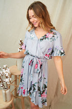 Be My Someone Grey Floral Ruffled Tie Waist Dress 3