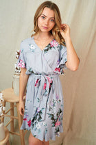 Be My Someone Grey Floral Ruffled Tie Waist Dress 4